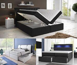 Boxspringbett weiß mit bettkasten  Boxspringbett mit zwei Bettkasten 140, 160 oder 180x200 weiß oder ...