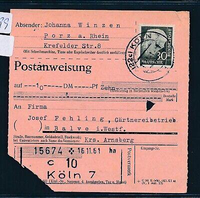 Postanweisung Köln 7 > Balve 31699 Ef 30pf Heuss Ii kr Arnsberg