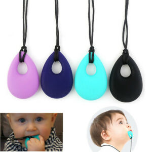 Kids Baby Chewy Necklace Anti Autism ADHD Biting Sensory Chew Teething Toys UK