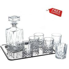 Crystal Whiskey Decanter Set Glass Brandy Square Carafe Scotch Vodka 7 X Vintage