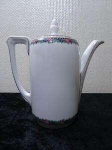 Antiguo-Schwarzburg-Porcelana-Jarra-de-Cafe-Borde-Rosas-Vintage-Um-1900