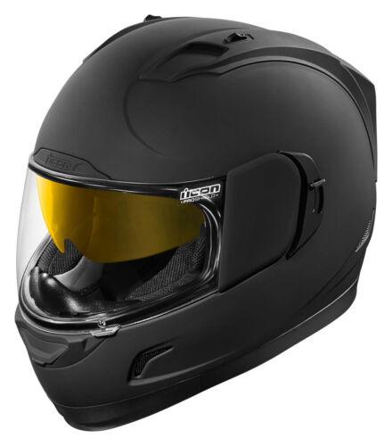 Choose Size Flat Black ICON Alliance GT RUBATONE Full-Face Helmet w// Sun Visor