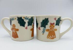 2-Hartstone-Gingerbread-Mugs-Girl-Woman-Christmas-Holly-Vintage-USA-Pottery