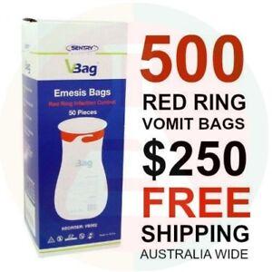 500-x-VOMIT-BAGS-RED-RING-TWIST-amp-SEAL-BULK