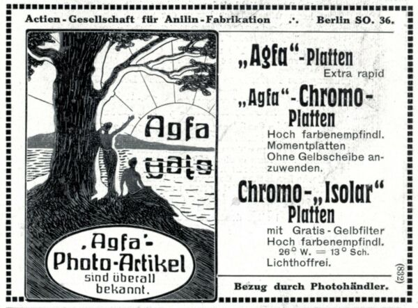 Agfa Fotoartikel Reklame 1909 Chromo Platten Bademode Akt Baum See Meerjungfrau Duftendes Aroma
