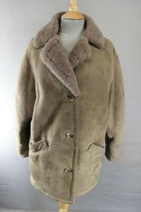 Classic-vintage-annees-1970-marron-clair-en-cuir-et-daim-doublee-de-peau-de-mouton-manteau-Taille-14