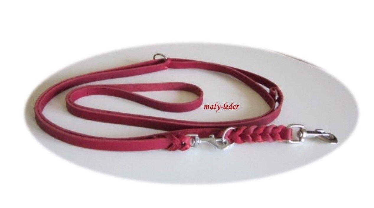 Hundeleine,Fettlederleine 3-fach verstellbar ,2,20m, 3m,Grau, Rot, maly-leder  | Shop