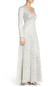 NWT-TADASHI-SHOJI-Lois-in-Silver-Gray-Deep-V-Embroidered-Gown-Dress-4-598