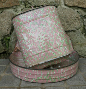 ANCIENNE-FONTAINE-EMAILLEE-METAL-EMAIL-ROSE-BASSIN-EPOQUE-ART-DECO-1930-JARDIN