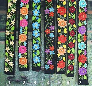 Colorful Floral Embroidered Wide Belts velcro Closure Mexico Hippie Boho Peasant
