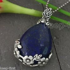 Lapis Lazuli Gemstone Teardrop Flower Pendant Reiki Healing Bead For Necklace