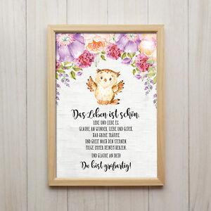 Details zu Das Leben ist Schön Kunstdruck DIN A4 Eule Spruch Bild  Kinderzimmer Tiere Deko