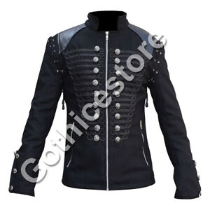 Image is loading Steampunk-Military-Jacket-Mens-Gothic-Punk-Rock-Metal- 363611f9219