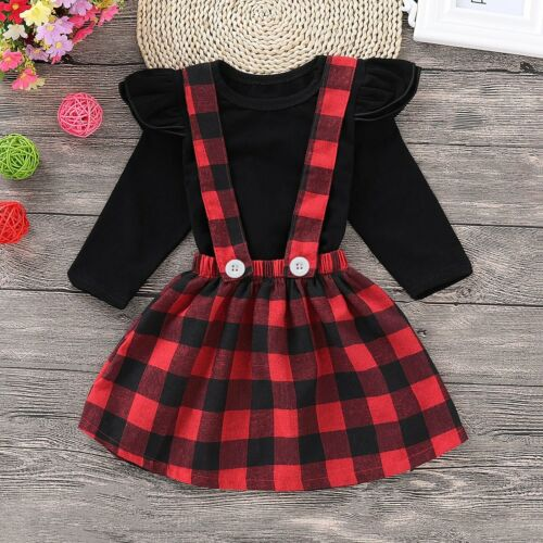 Toddler Infant Kids Baby Girl Outfits Clothes Set T-shirt Tops+Strap Skirt Dress