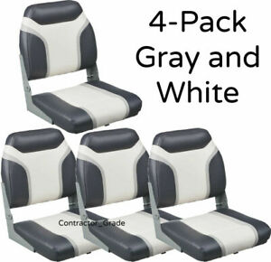 Details About New 4 Pack Of Gray White Folding Boat Seats Boating Bass Fishing Pontoon Set