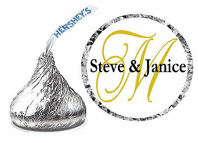 432 GOLD MONOGRAM WEDDING FAVORS HERSHEY KISS LABELS