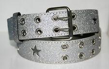 New Ladies Beautiful Glitter Silver Fashion Belt Western Line Dance Fancy Dress