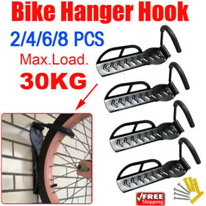 2//4//8X Wall Mount Cycle Stand Storage Hook Hanger Bike Rack Holder Space Saving