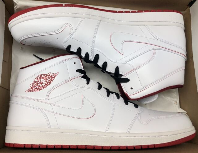 3a871536f7 Air Jordan 1 Mid Mens Size 11 White Gym Red Basketball Shoes 554724 103