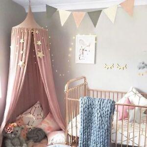 Image is loading UK-Pink-White-Round-Curtain-Dome-Bed-Canopy- & UK Pink/White Round Curtain Dome Bed Canopy Netting Princess Girl | eBay