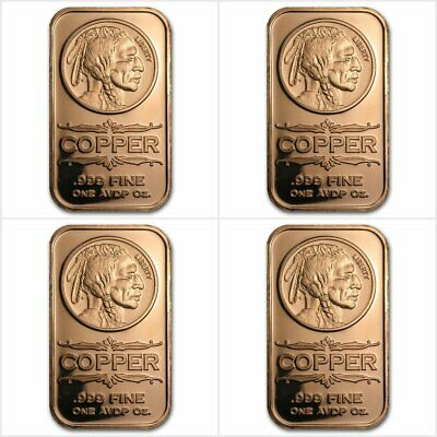 4x Indian Head 1 Oz Avdp 999 Copper Bar To Win Warm Praise From Customers Coins & Paper Money Humorous 4 X Indien 1 Once Avdp Cuivre Pur 999