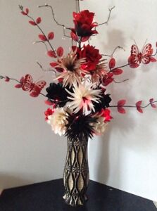 Artificial red silk flower arrangement red lights gold glitter image is loading artificial red silk flower arrangement red lights gold mightylinksfo