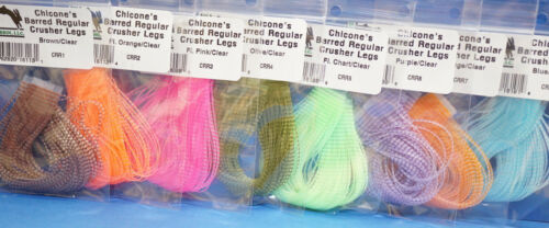 Chicone´s Barred Regular CRUSHER Legs Hareline 80 Streifen OLIVE CLEAR