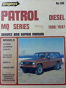 gregorys sp no 500 nissan patrol mq series diesel 1980 1987 service rh ebay com au nissan patrol 160-61 mq series service manual Toyota Hilux