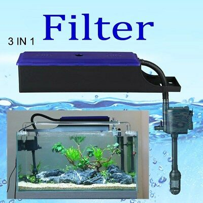 3 In1 Aquarium External Water Filter Pump Trickle Upper Box Fish Tank Ebay