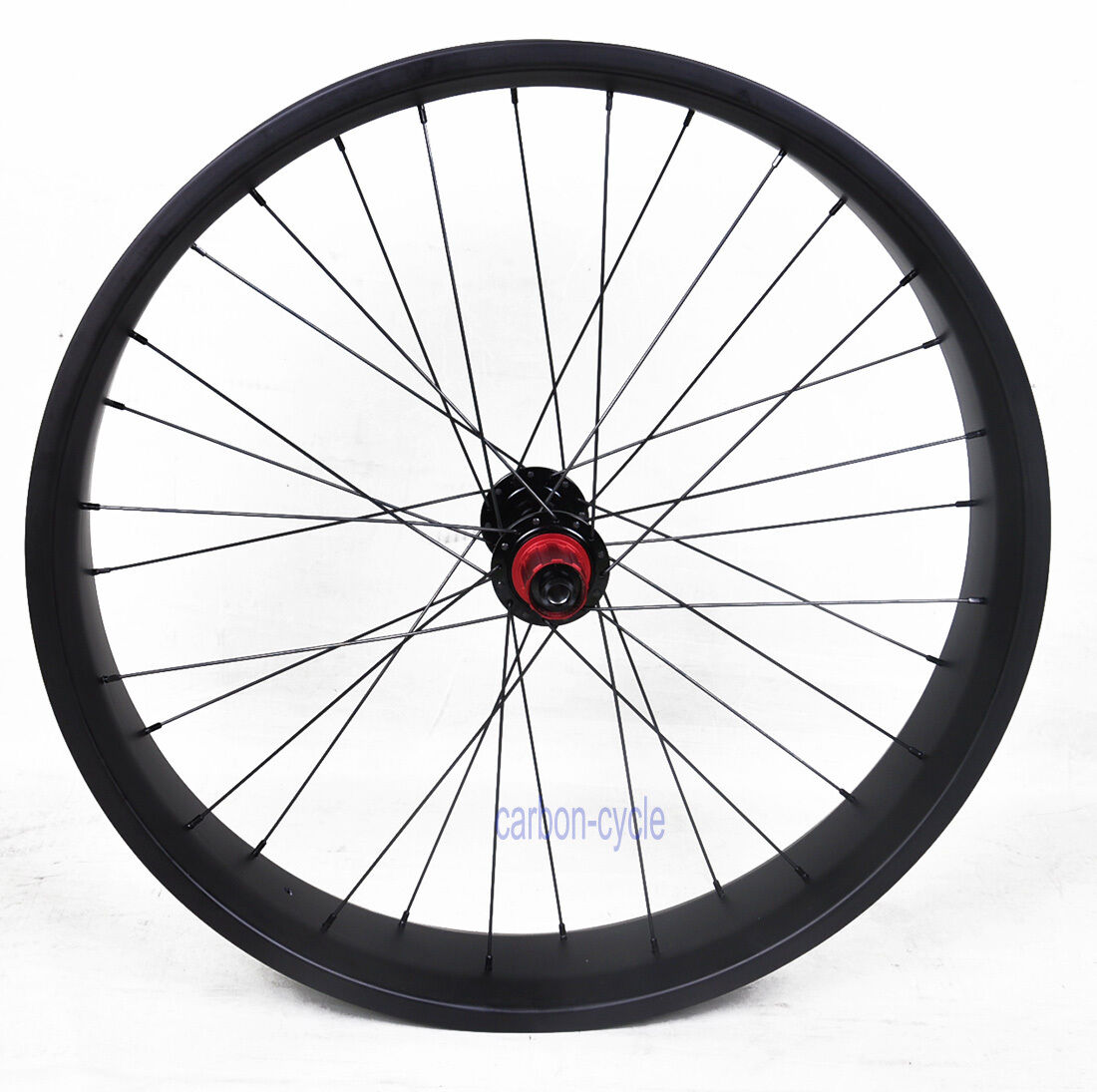 100mm 26er Carbon Fat Bike Rear Wheel Clincher MTB Thru Axle QR UD Matt Rim 4.8