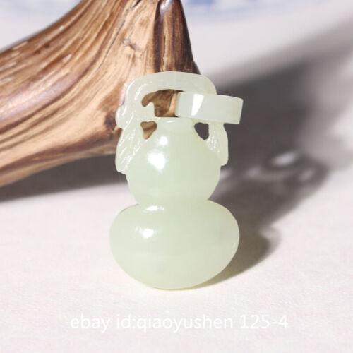 34MM Chinese Hetian Bluish White Jade Hand Carved Cucurbit Gourd Jewelry Pendant