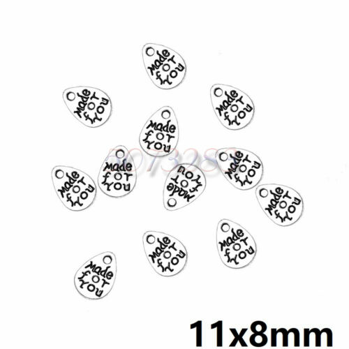 Lots 200PCS Tibetan Silver Crafts Made For You Water Drop Charms Pendants 11*8mm