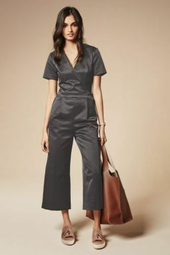 BNWT New NEXT Dark Grey Satin Wrap Top Cropped Trouser Jumpsuit size 10 RRP