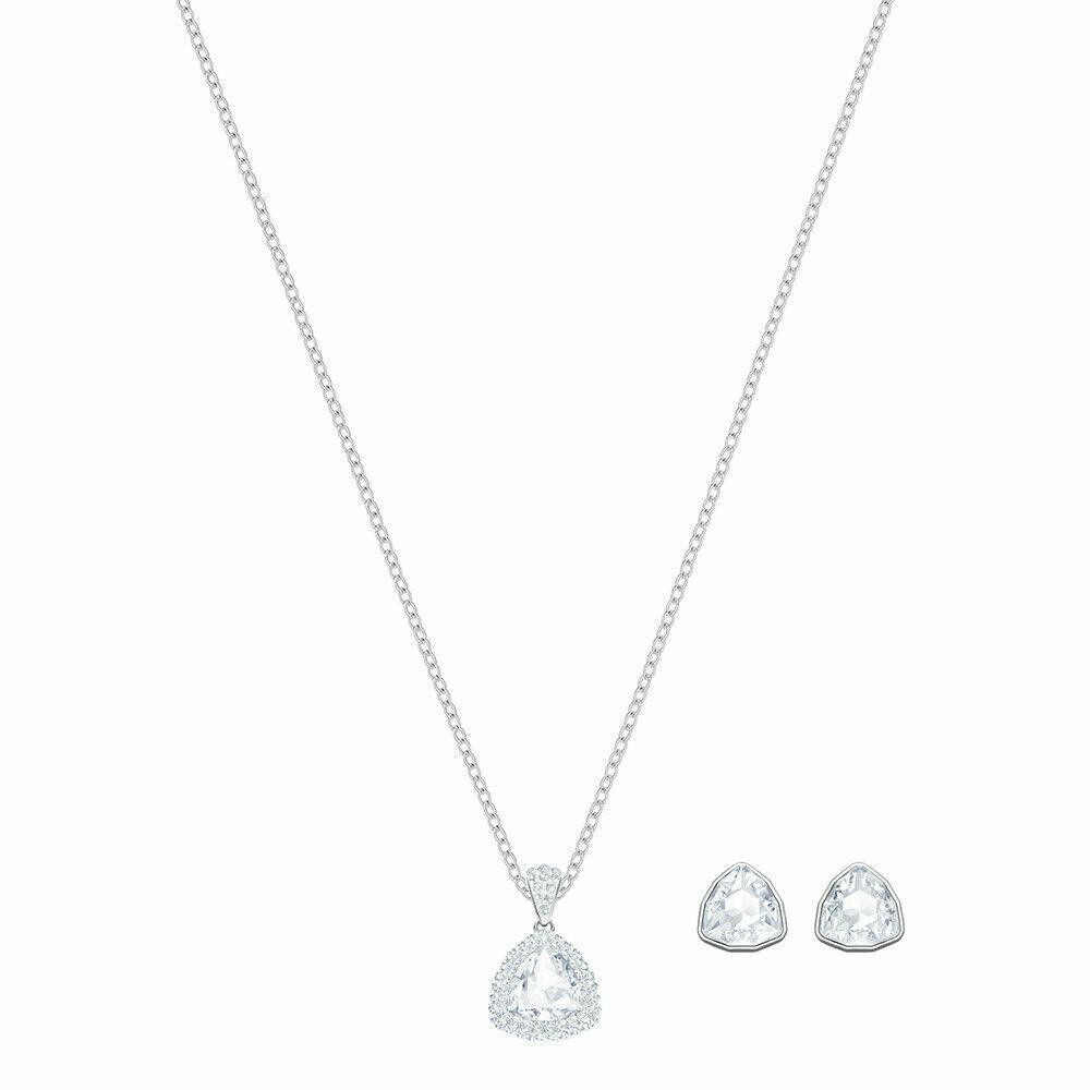 Swarovski Rhodium Plated Begin Pendant & Earrings Set