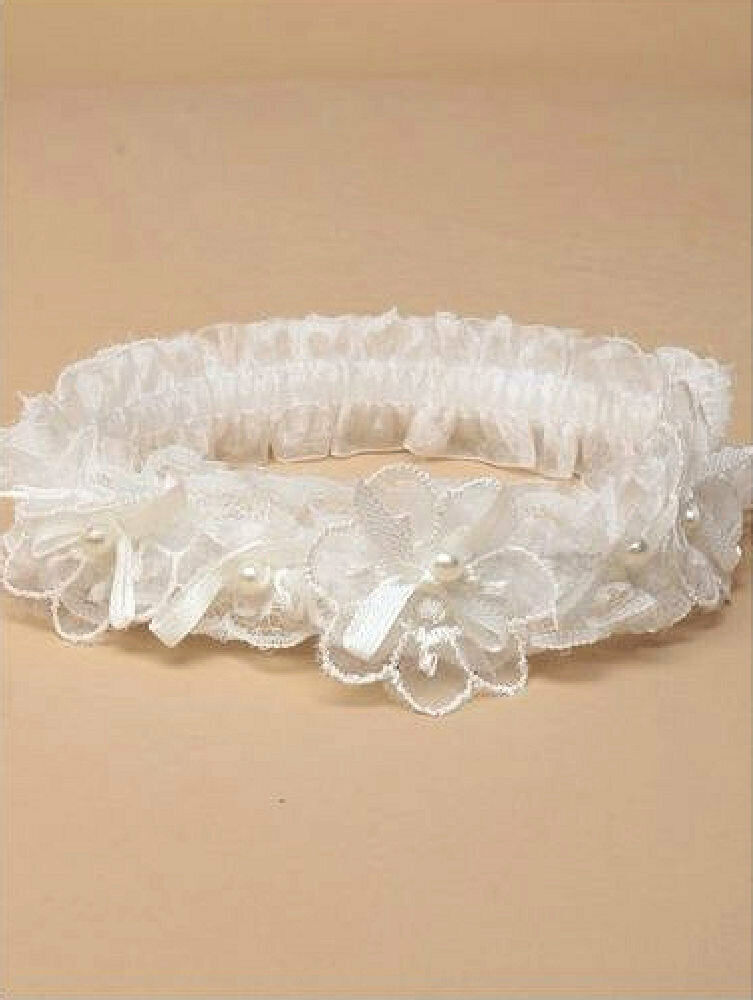 Beautiful Bridal white or Ivory Lace with satin Bows & Glass pearls Garter