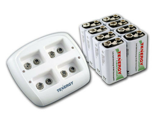 Tenergy TN136 4-Bay 9V Battery Charger+8 Centura 9V NiMH Rechargeable Batteries