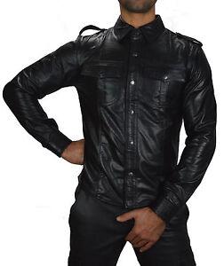 AWANSTAR Lederhemd mit Gelben Biesen,Nappa leder Hemd,chemise Cuir leather Shirt