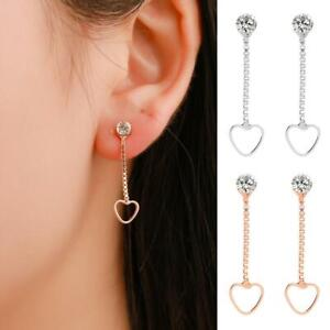 Rose-Gold-Plated-Long-Dangle-Tassel-Stud-Drop-Crystal-Heart-Earrings