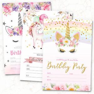 10-x-Unicorn-Birthday-Party-Invitations-Invites-Girl-Children-Kids-Pack