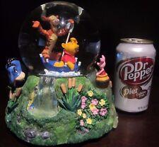 RARE Disney Winnie the Pooh Piglet Tigger Eeyore Raining Snowglobe Music Box