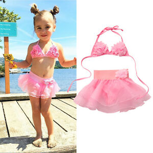 70644fffbf Image is loading Kids-Girl-Toddler-Floral-Swimming-Bathing-Suit-Swimsuit-