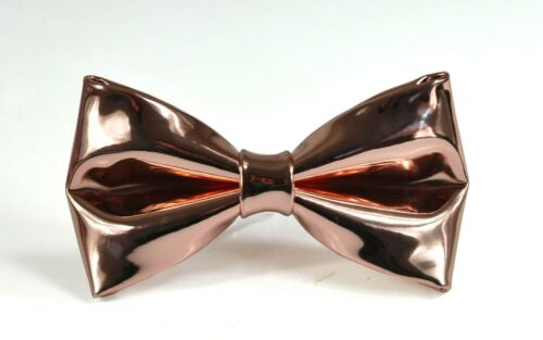 Youth Baby Rose Gold Shining Faux Leather Bow tie Bowtie for Men Boy