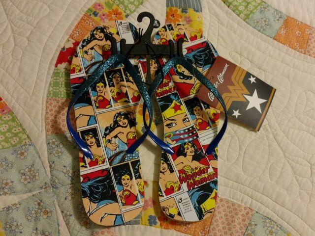 DC Comics Wonder Woman Womens Size XL(11-12) Flip Flop Sandals Blue New With Tag
