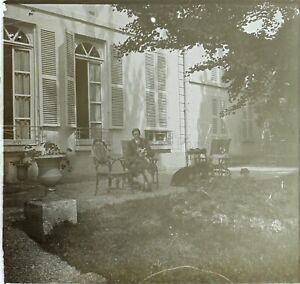 FRANCE-Jardin-Homme-au-chien-Photo-Stereo-Vintage-Plaque-Verre-VR3L8n13