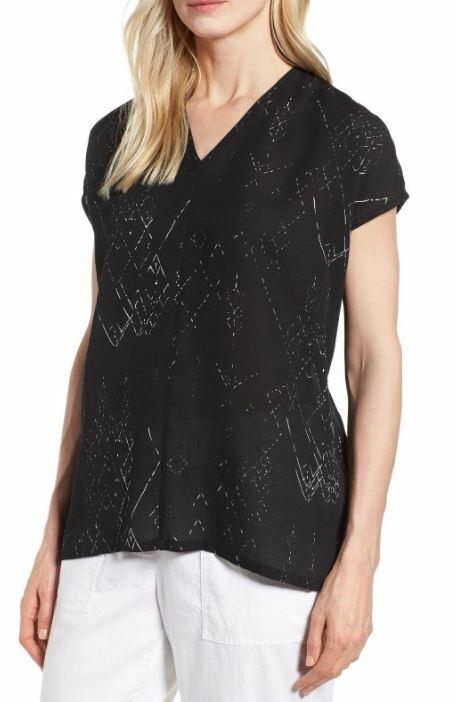 Eileen Fisher Marrakesh schwarz V-Neck Printed Silk Tencel Top XXS