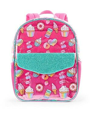"Clear Pink Llama 16/"" Wonder Nation Backpack School Book Bag Tote NWT NEW"