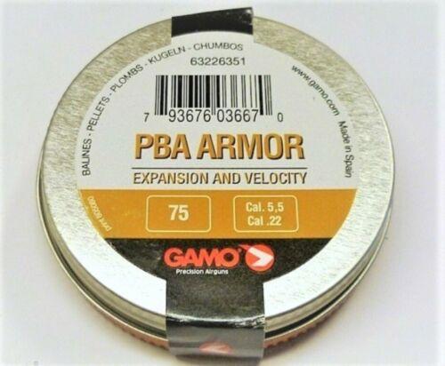 0.69 g 10.65 gr Airgun pellets Gamo PBA Armor Performance .22 5.5 mm 75 pcs