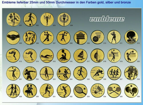 go selbstklebend PORTOFREI 3x Alu-Embleme 50mm si oder bronzefarben