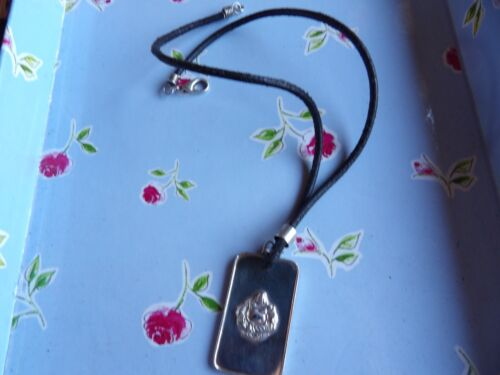 SURFER NECKLACE  76-92 WHITE METAL BUDDAH PLAQUE ON LEATHER THONG TRIBAL