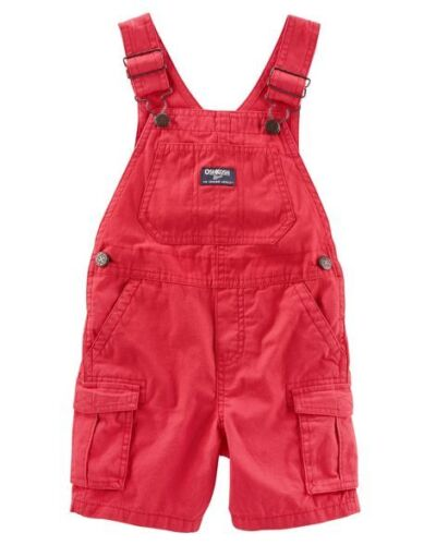 OSHKOSH B/'GOSH Infant Boys Red Canvas Shortalls NWT short overalls bib pants